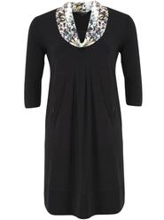 Black Jersey Dress With Opal Sequin Print Collar