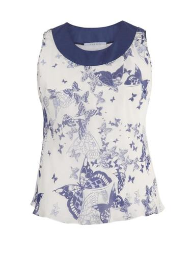 Ivory & Navy Butterfly Print Silk Camisole